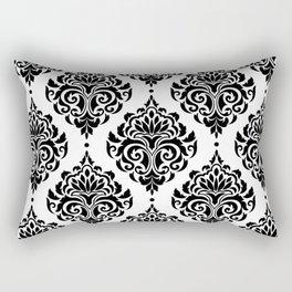 Black and White Damask Rectangular Pillow
