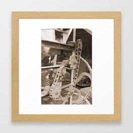 Old Chain Mechanism Sepia Framed Art Print