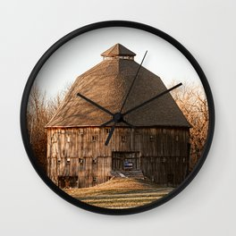 Indiana Rustic Round Barn Photography Print Wall Clock