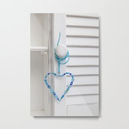 Blue Heart of beads Metal Print