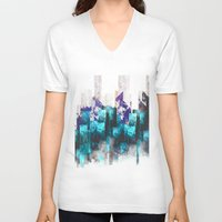 cities V-neck T-shirts featuring Cold cities by HappyMelvin