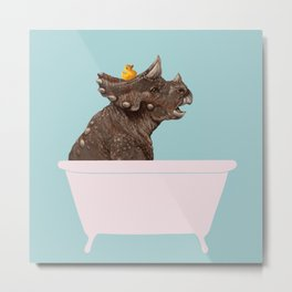 Playful Triceratop in Bathtub Metal Print
