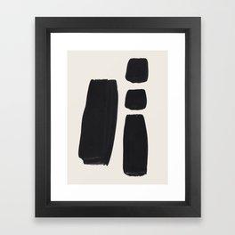 Mid Century Modern Minimalist Abstract Art Brush Strokes Black & White Ink Art Square Shapes Framed Art Print