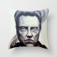 christopher walken Throw Pillows featuring Christopher Walken Portrait by joeandersonart