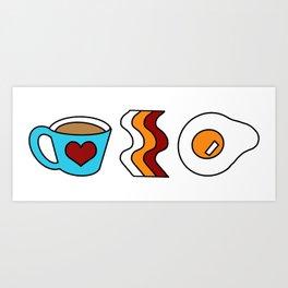 Coffee Bacon Egg Art Print
