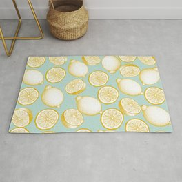 Lemons On Turquoise Background Rug