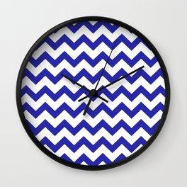 Chevron (Navy & White Pattern) Wall Clock