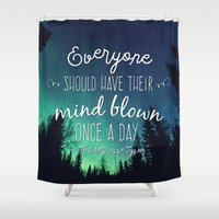 neil gaiman Shower Curtains featuring Inspirational Poster - Neil deGrasse Tyson Quote by Mariah Liisa