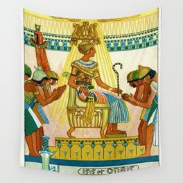 Vintage 1933 Belgian Egyptian Motif Isis Osiris Liebig's Beef Extract Lithograph Advertisement Poste Wall Tapestry
