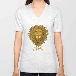 Lion Of Judah - Rastafari _ Jewish Tribe Symbol Unisex V-Neck