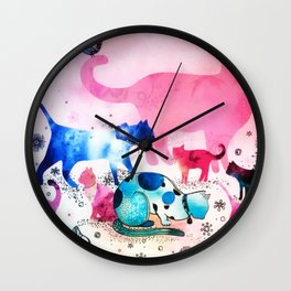 Cat Party House Glitter Art Pink Watercolor Wall Clock