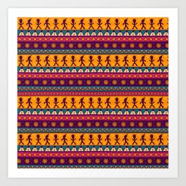 Vintage abstract pink orange geometric aztec chevron pattern Art Print