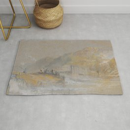 """J.M.W. Turner """"Foul by God - River Landscape with Anglers Fishing From a Weir"""" Rug"""