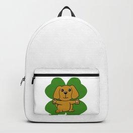 Dog On Four Leaf Clover- St. Patricks Day Funny Backpack