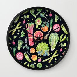 Spring Harvest Pattern Dark Wall Clock