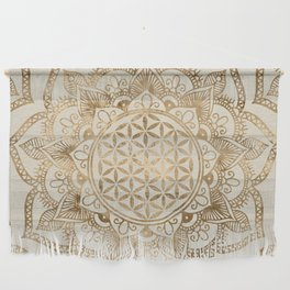 Flower of Life in Lotus - pastel golds and canvas Wall Hanging