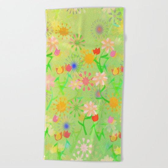 Spring Riot Pattern Beach Towel