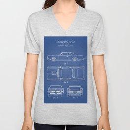 PONTIAC GTO patent print, pontiac gto poster, muscle car decor, pontiac gto blueprint Unisex V-Neck