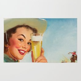 Pin Up Girl and Beer Vintage Art Rug