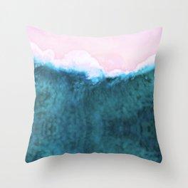 Pink Beach Ocean Shoreline Throw Pillow