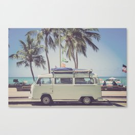 bus, van, beach, hippie, tropical, summer, travel, explore, adventure, wanderlust, travel van, boho Canvas Print