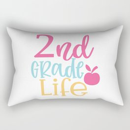 Nd Grade Design - Funny School humor - Cute typography - Lovely kid quotes illustration Rectangular Pillow