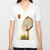 basketball V-neck T-shirts featuring Basketball by KimberosePhotography
