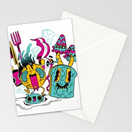 Psychedelic Breakfast Halloween Stationery Cards