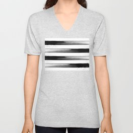 Japanese calligraphy stroke stripe -Zen style, black and white Unisex V-Neck