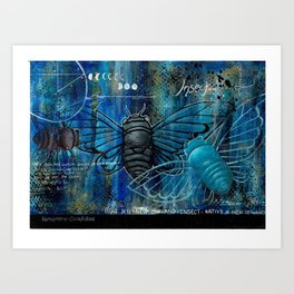 Cicada Insect Abstract Art Print  Art Print