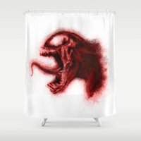 carnage Shower Curtains featuring Carnage by KitschyPopShop