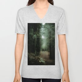 In the forest of Washington state, ponderosa pine trees Unisex V-Neck