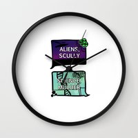 dana scully Wall Clocks featuring Aliens, Scully by raynall