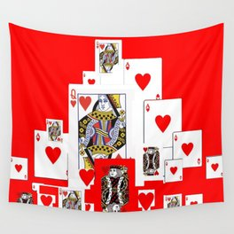RED COLORED ACES RED HEARTS CASINO PLAYING CARDS Wall Tapestry