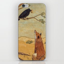 Fox and Crow, Aesop's Fable Illustration in the style of Arthur Rackham and Howard Pyle iPhone Skin
