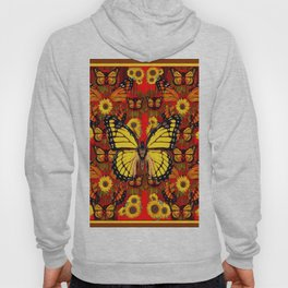 COFFEE BROWN MONARCH BUTTERFLY SUNFLOWERS Hoody