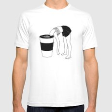 Coffee, First White SMALL Mens Fitted Tee