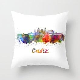 Cadiz skyline in watercolor Throw Pillow