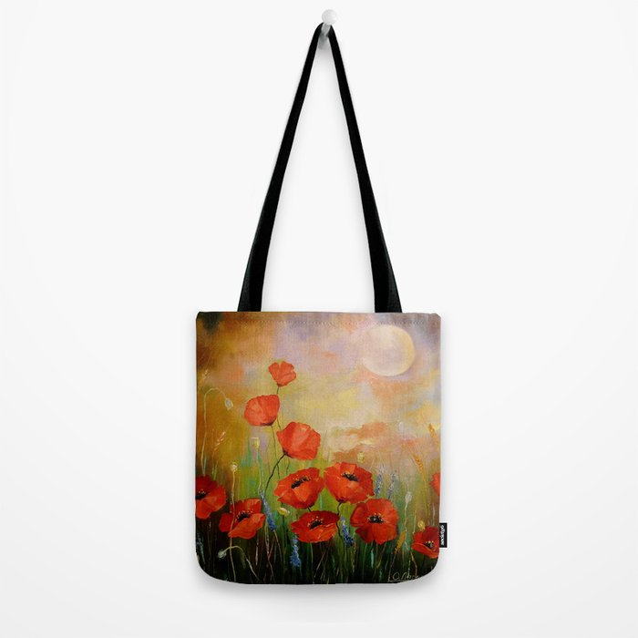 Poppies in the moonlight Tote Bag