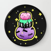 pastel goth Wall Clocks featuring Pastel Goth Pumpkin Stack by MagicCircle