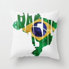 Brasil Typographic World Map / Brasil Typography Flag Map Art Throw Pillow