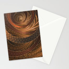 Earthen Brown Circular Fractal on a Woven Wicker Samurai Stationery Cards