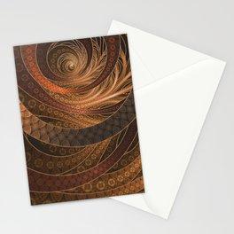 Earthen Brown Circular Fractal on a Woven Wicker Samurai Stationery Cards