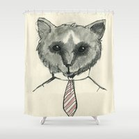 mr fox Shower Curtains featuring Mr. Fox by Shiroshi