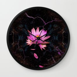 Gentle Lotus on grunge rust Wall Clock