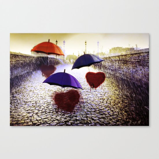 Three Lonely Hearts In the Rain Canvas Print