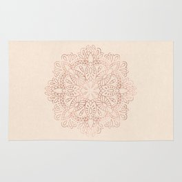 Mandala Rose Gold Pink Shimmer on Light Cream Rug