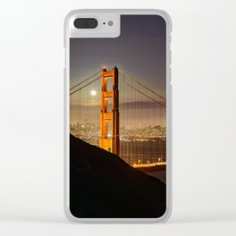 GOLDEN GATE BRIDGE & MOON PHOTO - SAN FRANCISCO NIGHT IMAGE - CALIFORNIA PICTURE - CITY PHOTOGRAPHY Clear iPhone Case