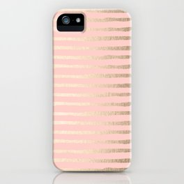 Abstract Stripes Gold Coral Light Pink iPhone Case