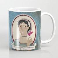 jane austen Mugs featuring Jane Austen said... by Mrs Peggotty
